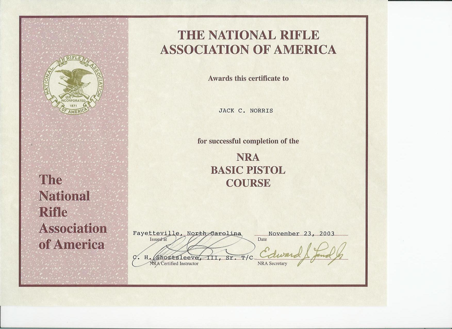 North carolina concealed carry for Basic certificate template